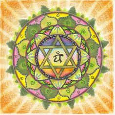 Heart Chakra mandala – Anahata is symbolized by a circular flower with twelve green petals. Chakra Art, Chakra Healing, Heart Chakra, Mandala Art, Namaste, Mudras, E Mc2, Star Of David, Sacred Geometry