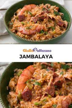 Jambalaya: un piatto unico della cucina creola a base di riso, gamberi, pollo, chorizo e peperoni. L'utilizzo del riso e la cottura in una sola padella ricordano la famosa paella spagnola.  #giallozafferano #rice #onepot #shrimp #chicken #recipe #jambalaya #riso #crostacei  [Easy and quick homemade jambalaya]