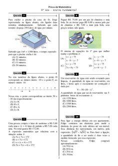 Resultado de imagem para prova de matematica 8 ano