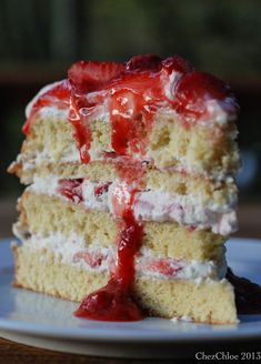 Strawberry shortcake cake. Uses 8 yolks, 4 egg whites in cake and heavy cream and sour cream for filling.