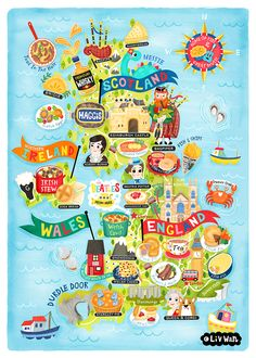 This illustrated map of UK is full of delicious pies and all kind of traditional and classic British food, famous people from UK and cool things. United Kingdom Map illustration illustrated by illustrator Liv Wan.