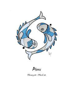 Pisces Artwork Drawing  - Pisces Artwork Fine Art Print