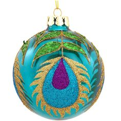 Round Glass Ornament With Peacock Feather Glitter Design $7.99