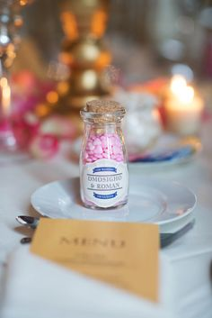 Glass Milk Bottle Candy Wedding Favor | The Knot Shop | J'adore Studios https://www.theknot.com/marketplace/jadore-studios-jacksonville-fl-481479