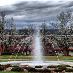 Here is the Wesleyan fountain with the Camden Complex seen beyond the water.