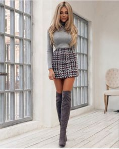 fine 35 Best Outfit to Wear with Mini Skirt and Boots http://attirepin.com/2017/12/23/35-best-outfit-wear-mini-skirt-boots/