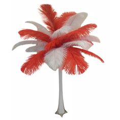"This beautiful red and white ostrich feather centerpiece is part of our Valentine's Day Promotion. See our Pinterest ""Valentine's Day Promotion"" board for the promo code. #wedding, #valentine's, #valentine"