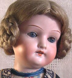 "Antique Bisque Head Doll Heubach Koppelsdorf 250, Germany 16"", Original Clothing  Darling Mohair Wig! Regional Costume! 5-pc. Compo Body"