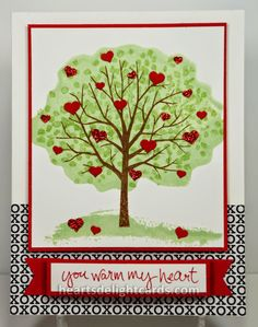Heart's Delight Cards: Stampin' Up! Leadership - excellent demo at Leadership about using the back of the photopolymer stamps as another stamp in a set - the fluffly tree is the back of the leaves stamp. Just an awesome idea! Valentine Love Cards, Valentines, Making Greeting Cards, Mothers Day Cards, Heart Cards, Scrapbook Cards, Homemade Cards, Stampin Up Cards, Making Ideas