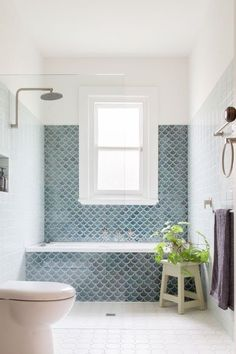 Fishscale: Handmade fish scale, or mermaid, tiles become a key feature in this b. - Fishscale: Handmade fish scale, or mermaid, tiles become a key feature in this bathroom with a gene - Family Bathroom, Laundry In Bathroom, Bathroom Renos, Bathroom Renovations, Master Bathroom, Small Bathroom With Window, Mosaic Bathroom, Bathroom Vanities, Small Bathroom Tiles