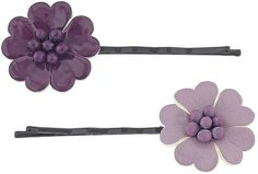 Purple Leather Effect Flower Hair Pins