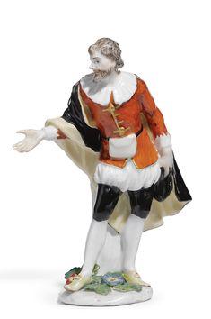 "A Meissen figure of ""Beltrame"" from the Weissenfels series,modelled by Peter Reinicke and J.J Kändler, circa 1744."