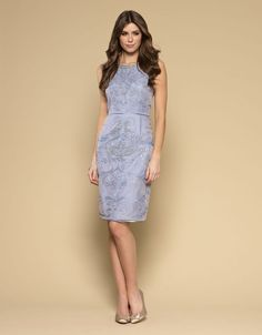 Monsoon Blue Embroidered Sequin Beaded Lace Tulle Anna Dress