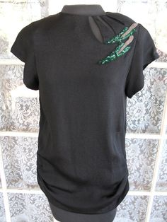 Vintage 1940s Black Rayon Crepe Beaded Blouse by AmeliaVintage, $85.00