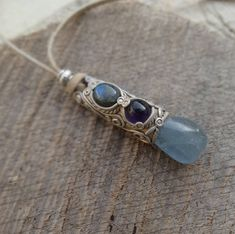 SHIPPING INCLUDED Labradorite Amethyst and Celestite Pendant