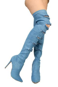 72e4193e541 Serina Womens Blue Distressed Ripped Denim Pointy Toe Thigh High Boots Blue  9   More info could be found at the image url. (This is an affiliate link)