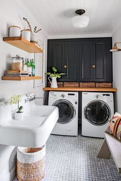 Laundry Room Is One Of Our Favorite Rooms–And Here's Why Monica Stewart Black and White Laundry Room.Monica Stewart Black and White Laundry Room. White Laundry Rooms, Farmhouse Laundry Room, Laundry In Bathroom, Laundry Decor, Laundry Closet, Vintage Laundry Rooms, Laundry Room Small, Compact Laundry, Modern Laundry Rooms