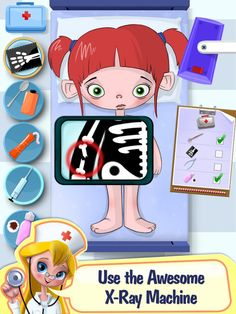 Doctor X is a Med School App by TabTale meant to help educate children of what goes on in a hospital. Including x-ray machines! Helping Children, Children And Family, Therapy Activities, Fun Activities, Games For Kids, Kids Fun, Child Life Specialist, Playing Doctor, Med School