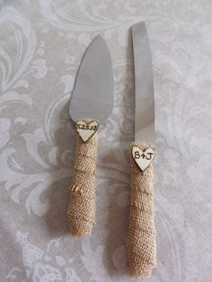Burlap Rustic Wedding Cake Knife Set by creations4brides on Etsy