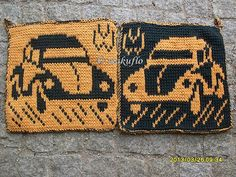 Ravelry: DF-Topflappen VW Käfer, free pattern by maku flo Fair Isle Knitting Patterns, Dishcloth Knitting Patterns, Knit Dishcloth, Knit Patterns, Crochet Home, Crochet Crafts, Knit Crochet, Knitted Washcloths, Beaded Cross Stitch