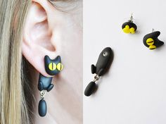 Shop put  favorites, we often have discounts and promotions! Pls, keep an eye on the store - https://www.etsy.com/ru/shop/EarringsEarcuffs      I make a gift with every order :)      Wonderful jewelery for girls and adolescent women. Cat earrings cheer up, give the perky and playful look, help to emphasize the individuality and simply look irresistible. This jewelry is suitable for holidays, and for walking, and a strict school or college dress code. Cat earrings made from polymer clay…