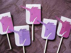 Purple unicorn cupcake toppers