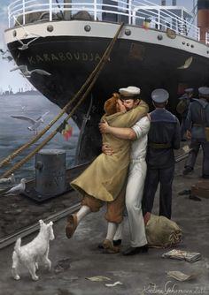 """Reunion at Ostend Harbour - Homecoming - 1945 Painted in Photoshop using a Wacom tablet. Took between 20-30 hours, spread over several days. Inspired by the fanfiction """"Homecoming"""" by Azzy.I will make another version of this, a non-Tintin/non-fanart painting with different characters. I love painting Tintin fanart but for an aspiring pro illustrator, fanart is so useless - I can't sell prints of it, can't license it to anyone, can't make merchandise of it, ..."""