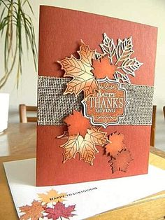 Preschool Crafts That Are Simple And Fun Thanksgiving Greeting Cards, Holiday Cards, Happy Thanksgiving, Christmas Cards, Handmade Thanksgiving Cards, Homemade Greeting Cards, Homemade Cards, Leaf Cards, Stamping Up Cards