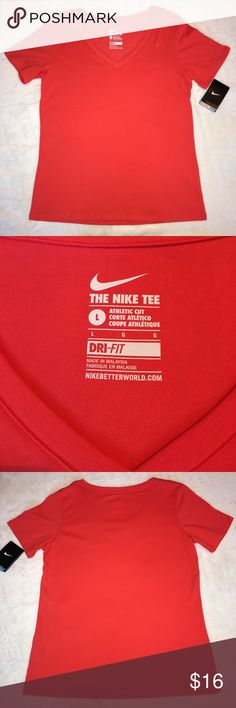 Nike Training Tee NWT New with tags Dri-Fit tee in a pretty coral color. Made with a cotton/polyester blend. Nike Tops Tees - Short Sleeve