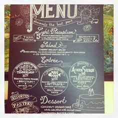 Putting the prices and specials on a big chalkboard is a unique idea that adds some flare Chalk Menu, Chalk Art, Chalkboard Designs, Chalkboard Art, Champagne Vinaigrette, Chalk Design, Love Birds Wedding, Pretty Fonts, Boards