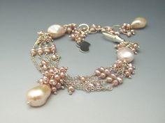 Silver Chain Link Multi Strand Bracelet w Pearls by mshafran, $134.99