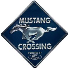 Hobby Crafts & Decor - Mustang Crossing Embossed Tin Sign