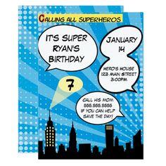 Super Hero Comic Book Birthday Invitation in Blue
