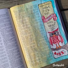Psalm 16:  How much better is it to get wisdom than gold?!  journaling Bible, owl illustration, marginalia