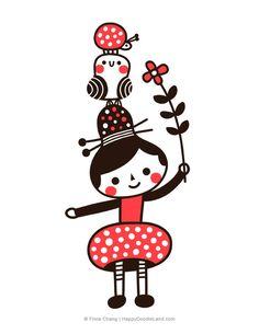 Girl, Bird and Ladybug - Flora Chang/ Happy Doodle Land Kawaii Illustration, Character Illustration, Graphic Design Illustration, Simple Illustration, Happy Doodles, Motifs Textiles, Copics, Illustrations, Doodle Art