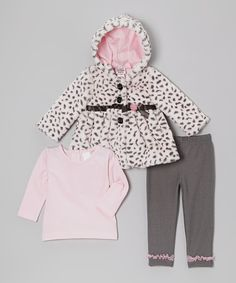 Take a look at this Peanut Buttons Pink Cheetah Bow Hooded Coat Set - Infant, Toddler & Girls on zulily today!