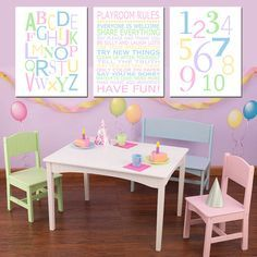 Playroom Rules Alphabet Numbers Set Kids Wall Art Trio By Tessyla