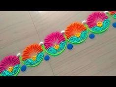 How to make beautiful border rangoli design by Jyoti Rathod Rangoli Designs Latest, Latest Rangoli, Rangoli Designs Diwali, Diwali Rangoli, Rangoli Borders, Rangoli Patterns, Small Rangoli Design, Beautiful Rangoli Designs, Festival Rangoli