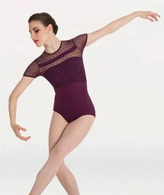 Merlot or white/ size adult large ....  Body Wrappers Tiler Peck Designs P1044 Dotted Cap Sleeve Leotard merlot
