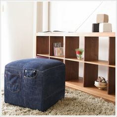 Denim Seating, use old jeans to cover a cheap cube or throw pillow to give it some pizzazz!