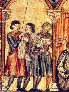 Troubadours from the Cantigas de Santa Maria. Two musicians have a vielle and one a citoler