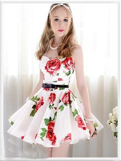 Silk Floral Rose Dress with in White