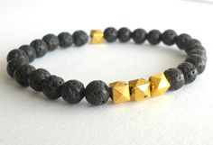 Men's Beaded Jewelry // Black and Gold by theblackstarboutique, $45.00