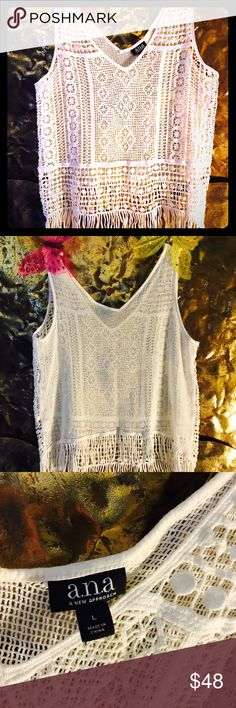A.N.A crocheted pullover w/bottom fringe border A.N.A white pullover. Very very good shape no pulls, no color fading all white. Completes/ enhances many outfits that are already in your closet. For work, dress or play. a.n.a Tops Blouses