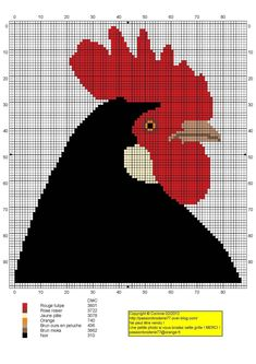 Coq coul (Rooster), designed by Corinne Thulmeaux, Passion Broderie 77 blogger.