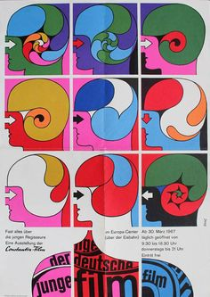 German poster for a 1967 festival of YOUNG GERMAN FILM. Designer: Dorothea Fischer-Nosbisch (1921-2009).