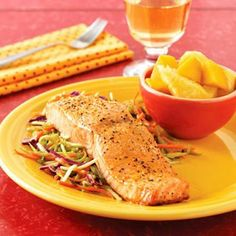 Oven Baked Salmon  Yield: 4 Servings  Ingredients  4  5- to 6-ounce fresh or frozen skinless salmon fillets  1  tablespoon olive oil or your favorite flavored oil  1  teaspoon seasoned salt or your favorite salt blend  1/4  teaspoon freshly ground black pepper