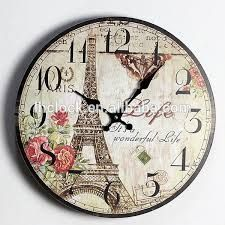 Vintage Antique Wall Clock Analog French Tuscan Style Wood Home Art Decoration Paris Eiffel Tower Wonderful Lift Rustic Wall Clocks, Wooden Clock, Vintage Walls, Vintage Wood, Retro Vintage, Chic Retro, Arte Pallet, Wall Clock Analog, Rustikalen Shabby Chic