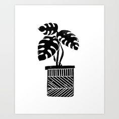 Monstera Plant linocut by monoo #linocut #leaf #cactus #plant #houseplant #homedecor #black-&-white #illustration