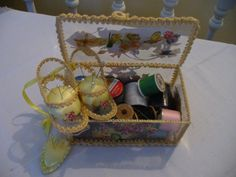 Vintage Handmade Sewing Caddy with Pincushions by Reminisce47